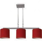 Ceiling Lamp CAMELOT 3xE14 L.68xW.16xH.Reg.cm Red/Chrome