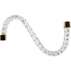 Glass twisted tubular arm 10cm transparent with golden tips