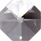 Crystal octagon stone D.2,6cm 2 holes transparent (Box)