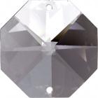 Crystal octagon stone D.3cm 2 holes transparent