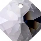 Crystal octagon stone D.1,4cm 2 holes transparent