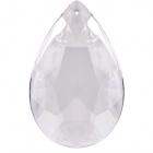 Glass pearshape stone 4x3,1cm 1 hole transparent