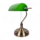 Table Lamp BANCARIO 1xE27 L.27xW.19xH.38cm Antique Brass/Green