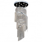 Ceiling Lamp ETELVINA 11xGU10 H.220xD.80cm Nickel-Plated Plate and Crystals Chrome/Transparent