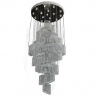 Ceiling Lamp EVANGELINA 16xGU10 H.250xD.100cm Nickel-Plated Plate and Crystals Chrome/Transparent