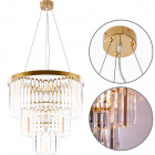 Ceiling Lamp OLFUS 6xE14 H.42xD.53,5cm with transparent cristals and gold plate