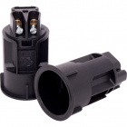Black E14 2-pieces candle lampholder Ø27mm w/metal brackets or snap-on domes, in thermoplastic resin