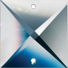 Crystal square stone 2,4x2,4cm 2 holes transparent