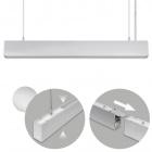 Suspending Light LINEX B2 120cm 1x40W LED+1x16W LED 3200lm 3000K 110° L.118xW.4xH.Reg.cm Aluminium