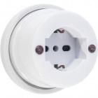 Schuko socket 10/16A 2P+T D.90xA.55mm porcelain white