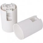 White E14 2-pieces lampholder with plain outer shell, in thermoplastic resin