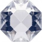 Glass octagon stone D.2,4cm 2 holes transparent (Box)