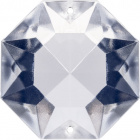 Glass octagon stone D.3cm 2 holes transparent (Box)