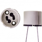 White GZ10 lampholder for mains powered halogen lamps, 25cm wire, in porcelain