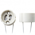 White GZ10 lampholder for mains powered halogen lamps, 60cm wire, in steatite
