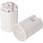 White E14 2-pieces lampholder with threaded outer shell, in thermoplastic resin