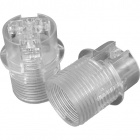 Transparent E14 2-pieces lampholder with half threaded outer shell, in thermoplastic resin