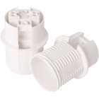 White E14 2-pieces lampholder with half threaded outer shell, in thermoplastic resin