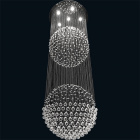 Ceiling Lamp PLANET round 6xGU10 H.190xD.60cm Nickel-Plated Plate and Crystals