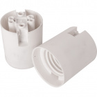 White E27 2-pieces lampholder with plain outer shell, in thermoplastic resin