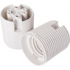 White E27 2-pieces lampholder with threaded outer shell, in thermoplastic resin