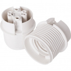 White E27 2-pieces lampholder with partly threaded outer shell, in thermoplastic resin