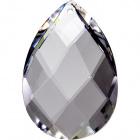 Crystal pearshape stone 6,3x4,3cm 1 hole transparent