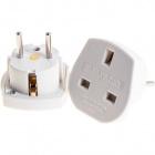 Plastic white plug adapter UK to European, 5x5x4,7cm, in plastic