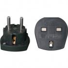 Plastic black plug adapter UK to European Schuko plug, in plastic 5x5x4,7cm