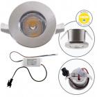 Downlight DENI round fixed 1W LED 80lm 3000K H.0,3xD.3cm Satin Nickel