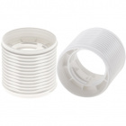 White threaded outer shell with reduced thickness E27 for 3-pieces lampholder, thermoplastic resin
