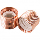 Copper plated threaded outer shell for 3-pieces metal lampholder, in metal