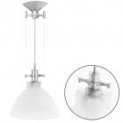 Pendant Light HERNER 1xE27 H.Reg.xD.32cm Glass White/Silver