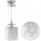 Pendant Light HERNER square 1xE14 L.12xW.12xH.Reg.cm Glass White