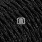 Twisted fabric covered electrical cable H05V2-K FRRTX 2x0,75 D.6.3mm black TR414