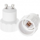 Plastic white plug adapter GU10 to E14 bulb 5x5x4,7cm, in plastic