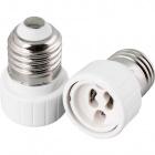 Plastic white plug adapter E27 bulb to GU10 bulb, in plastic 5x5x4,7cm