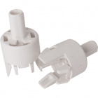 White dome for E14 2-pc lamph. w/thread.stem, stop, built-in cord-grip,anti-rot. dev.,thermopl.resin