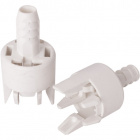 White dome for E14 2-pieces lampholder with dowel and built-in cord-grip, in thermoplastic resin