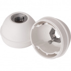 White dome for E27 3-pc lampholder w/metal nipple M10 and stem locking screw, in thermoplastic resin