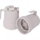 White E27 porcelain lampholder w/L