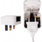 White plug adapter European to UK, 3A fuse, in polypropylene (PP)