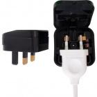 Black plug adapter European to UK, 3A fuse, in polypropylene (PP)