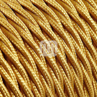 Twisted fabric covered electrical cable H05V2-K FRRTX 3x0,50 D.5.7mm gold