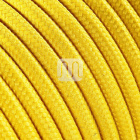 Flexible round fabric covered electrical cable H03VV-F 3x0,75 D.6.4mm yellow TO58