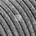 Flexible round fabric covered electrical cable H03VV-F 3x0,75 D.7.0mm canvas grey TO402