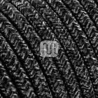 Flexible round fabric covered electrical cable H03VV-F 3x0,75 D.7.0mm canvas dark grey TO403