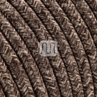 Flexible round fabric covered electrical cable H03VV-F 3x0,75 D.7.0mm canvas brown TO404