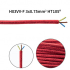 Flexible round fabric covered electrical cable H03VV-F 3x0,75 D.6.4mm lamé red TO462