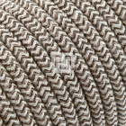 Flexible round fabric covered electrical cable H03VV-F 3x0,75 D.7.0mm sand canvas brown TO447